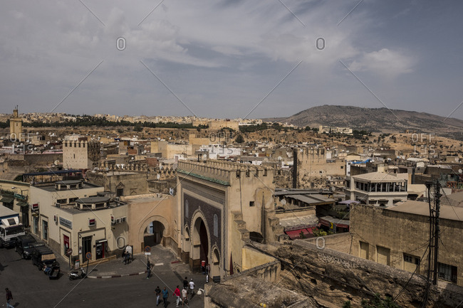 Fes, Morocco - 20 September 2017: Fes Bab Bou Jeloud and cityscape