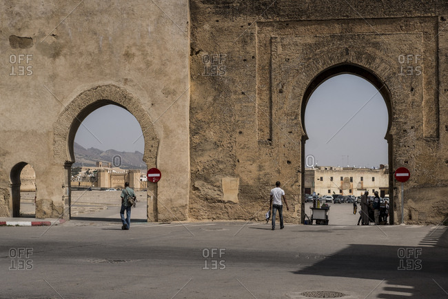 Fes, Morocco - 21 September 2017: Place Bouldjoud and Bab Chems gate