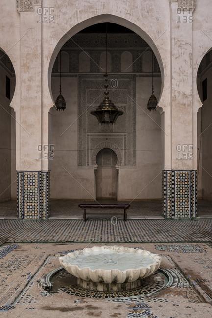 Fes, Morocco - 22 September 2017: Acharatine madrassa main hall