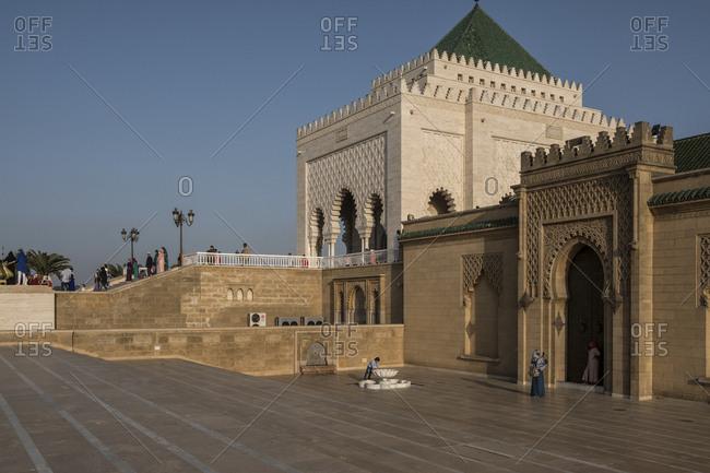 Rabat, Morocco - 23 September 2017: People around Mausoleum of Mohammed V