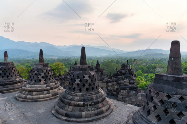 Some stupas of Borobudur temple, a Buddhist complex in Java, Indonesia.