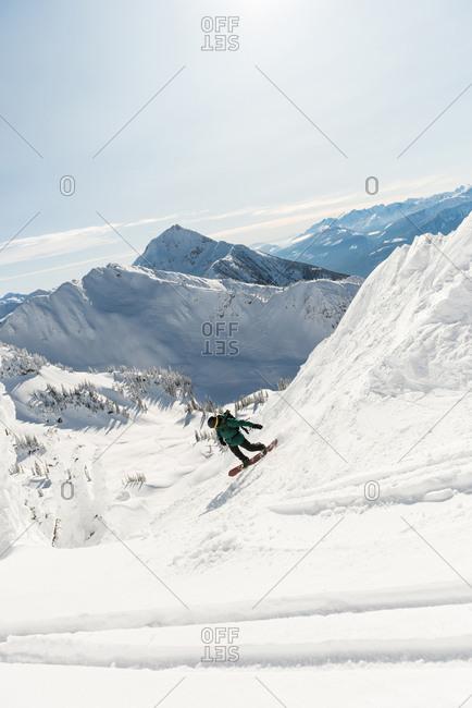 Skier skiing on a snowy mountain