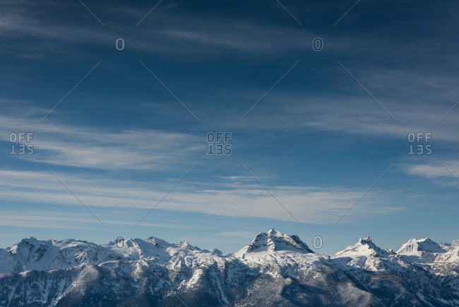 Beautiful snow capped mountains during winter
