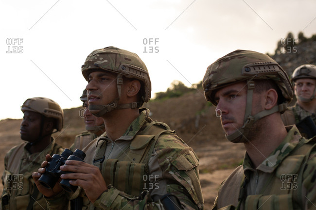 Military soldiers training together during military training