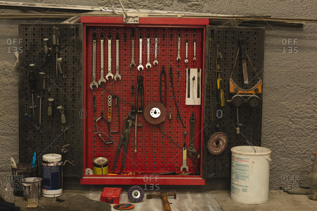 Car tools arranged in garage