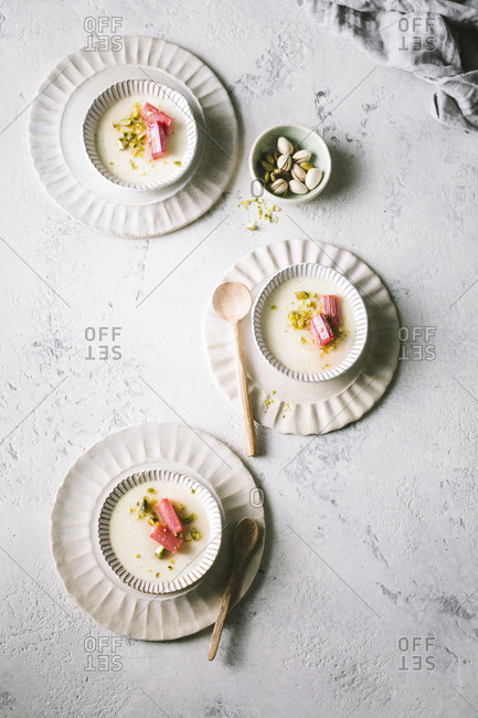 Vanilla pannacotta with roasted rhubarb and pistachios