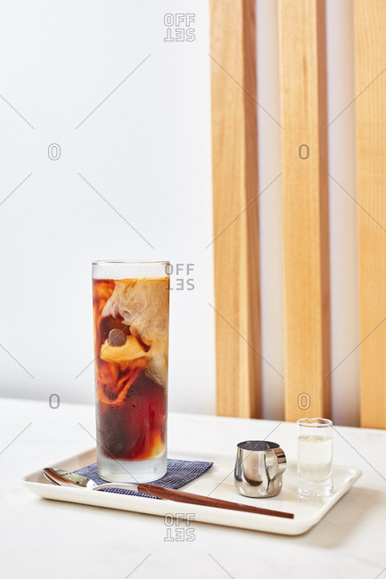 Japanese iced coffee served with milk
