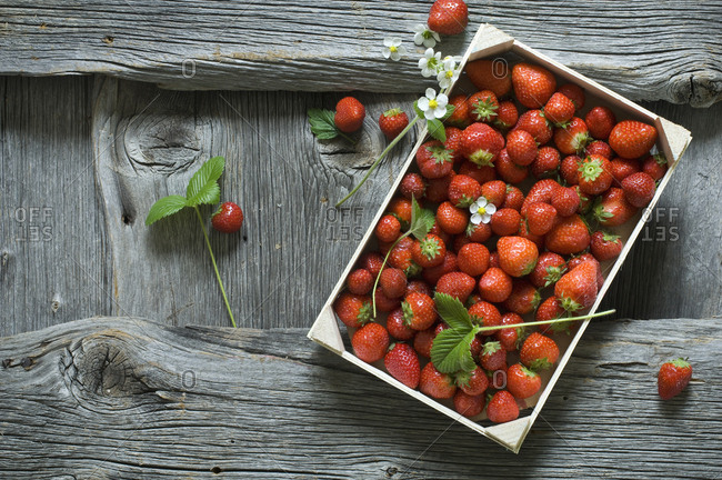 Strawberries in wooden box