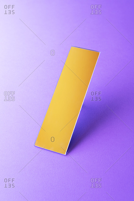 Rectangle shaped mirror on purple ground, 3D Rendering