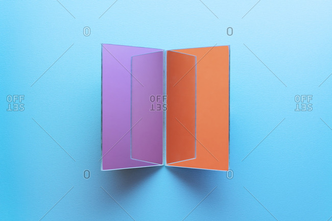 Rectangle shaped mirrors on blue background