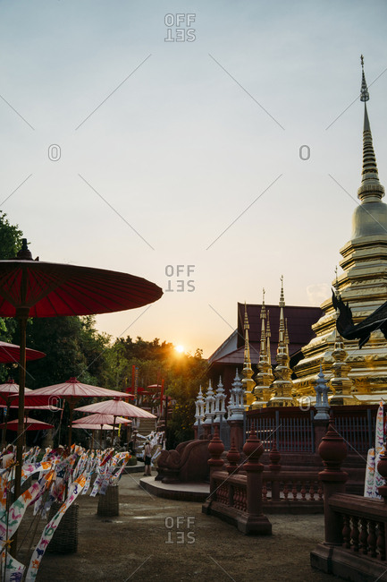 Thailand, Chiang Mai, Sunset with decorations to celebrate the New Year at the Wat Phan Tao Buddhist temple