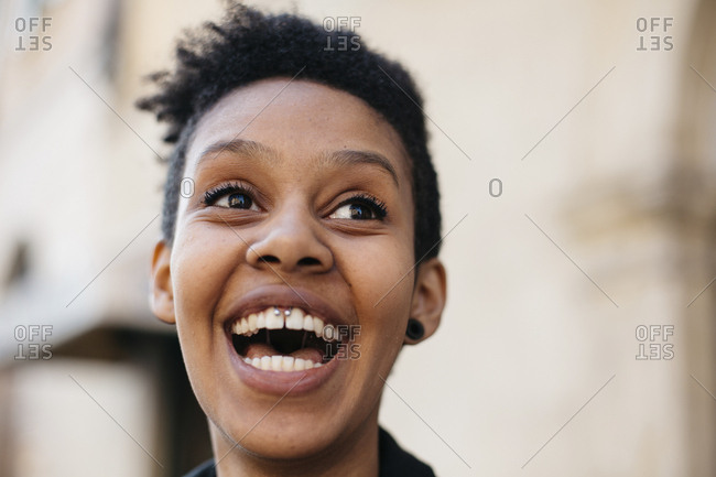 Portrait of laughing young woman