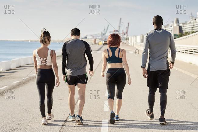 Group of sportspeople walking, rear view