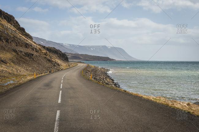 Iceland, Vestfiroir, empty road