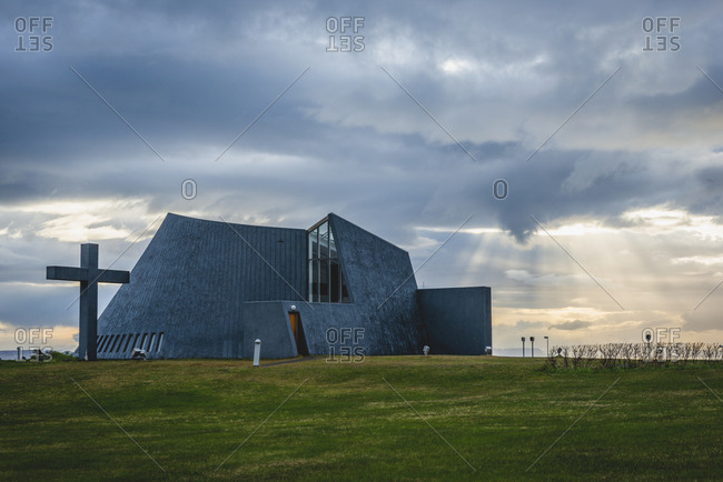 Iceland, Bloenduos, modern parish church