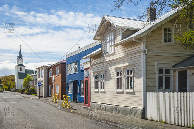 Iceland, Saudarkrokur - May 25, 2018: Townscape, houses and church