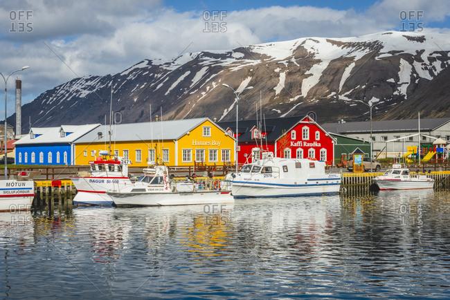 Iceland, Siglufjoerdur,  - May 25, 2018: Harbor view