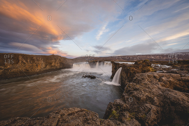 Iceland, Go_afoss waterfall in the evening