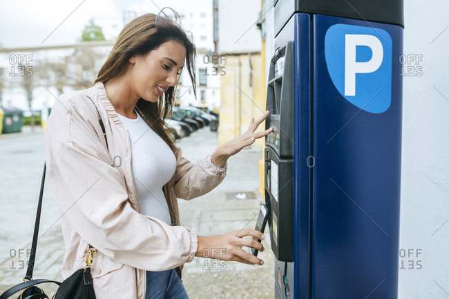 Spain, Parking meter, paying with smartphone