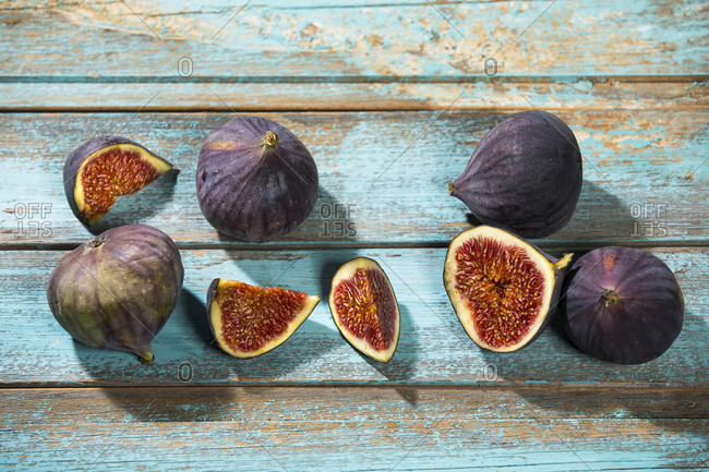 Figs on blue wood