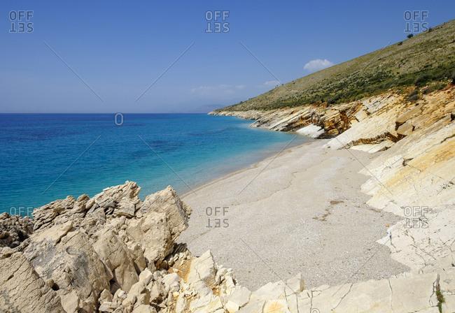 Albania, Vlore County, beach near Lukova, Albanian Riviera, Ionian Sea, Plazhi Shpella