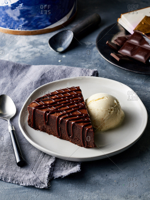 Chocolate torte served with ice cream