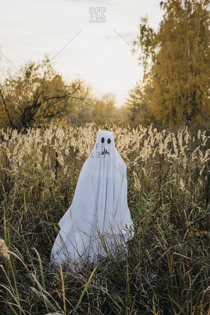 Person dressed up as a ghost standing in a field at sunset