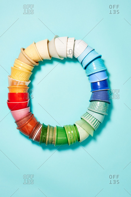 Colorful vintage dessert dishes stacked in a circle