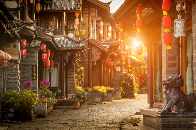 Yunnan, China - March 10, 2018: Old town of Lijiang at sunrise