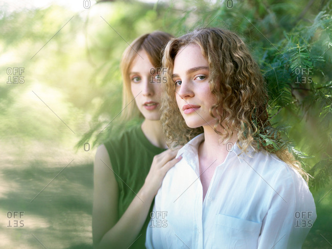 Portrait of young women in nature