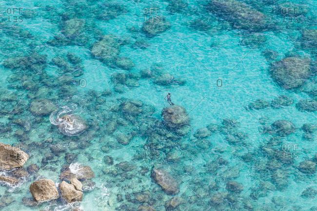 Overhead view of sea, Piscinas, Sardinia, Italy