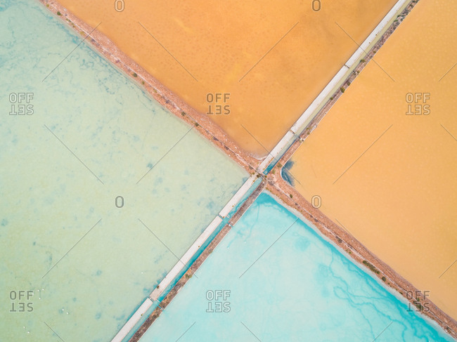 Aerial abstract view of colourful saline lakes, Cagliari, Sardinia