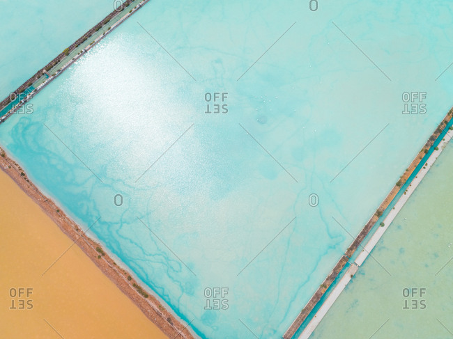 Aerial abstract view of colourful saline lakes, Cagliari, Sardinia