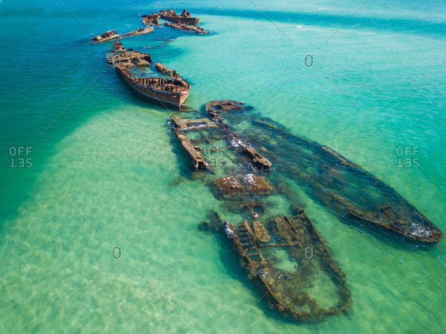 Aerial view of Tangalooma shipwrecks in Moreton Bay, Queensland Australia
