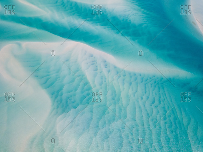 Aerial abstract view of shoals off Kooringal, Moreton Island, Australia