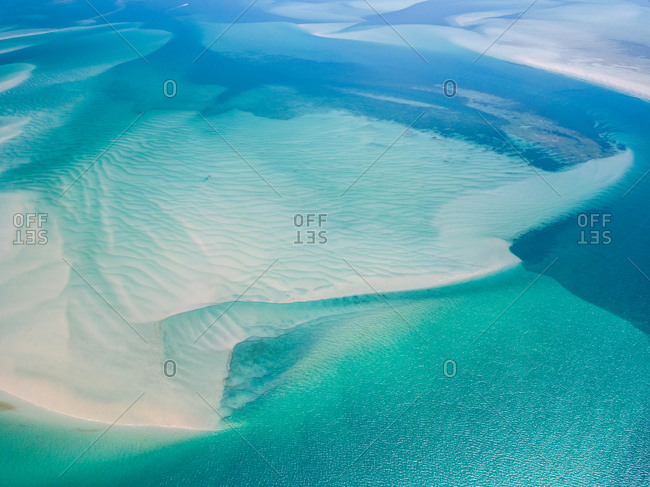 Aerial abstract view of shoals off Kooringal, Moreton Island, Australia