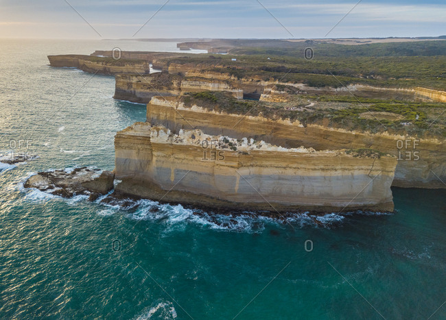 Aerial panoramic view of Loch Ard Gorge, Port Campbell national park, Australia