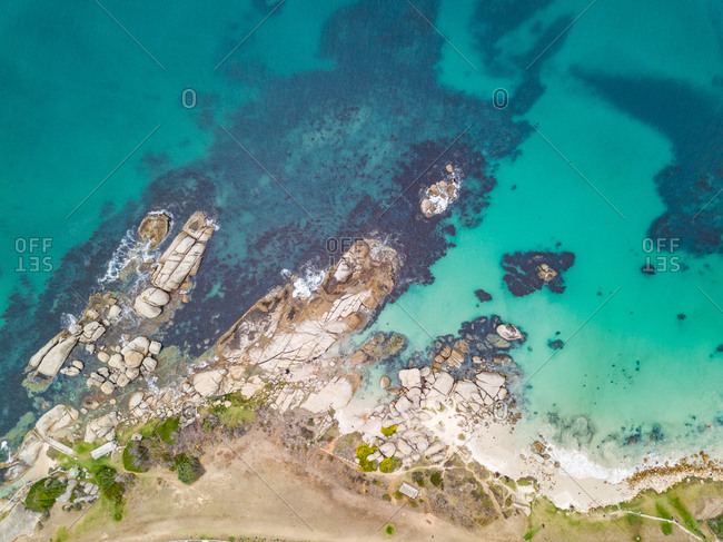 Aerial abstract view of rocky coast near Froggy Farm, Cape Town, South Africa