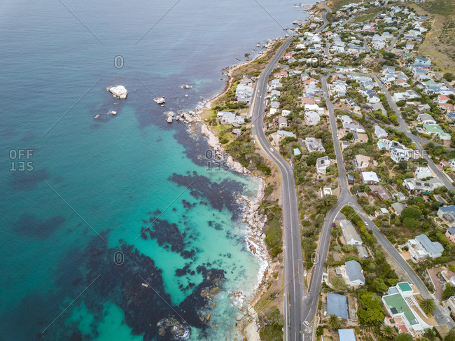 Aerial view of coastal road and buildings, Froggy Farm, Cape Town, South Africa