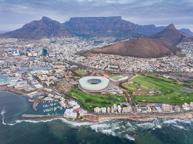 Aerial panoramic view of Mouille Point and Green Point stadium,  Cape Town, South Africa