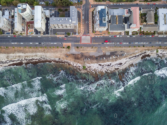 Aerial view of coastal road and residential buildings, Mouille Point, Cape Town