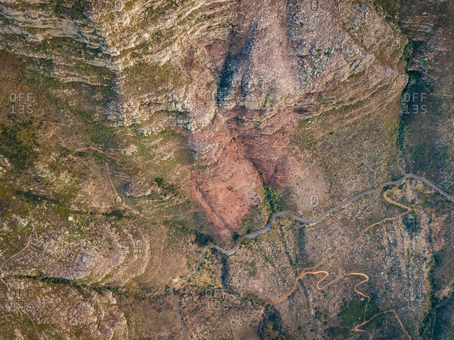 Aerial abstract view of winding road in Table Mountain, South Africa
