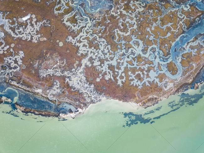 Aerial abstract view of tributary river in West Coast National Park Marine, South Africa