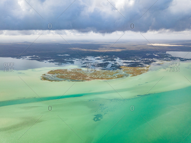 Aerial panoramic view of West Coast National Park Marine area, South Africa