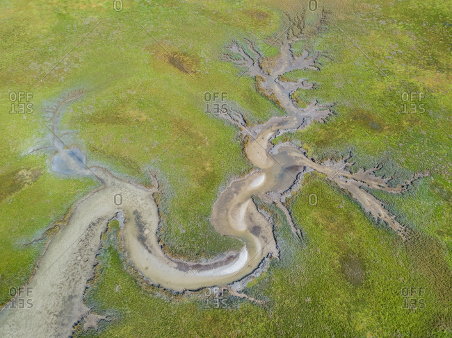 Aerial abstract view of tributary river, West Coast, South Africa