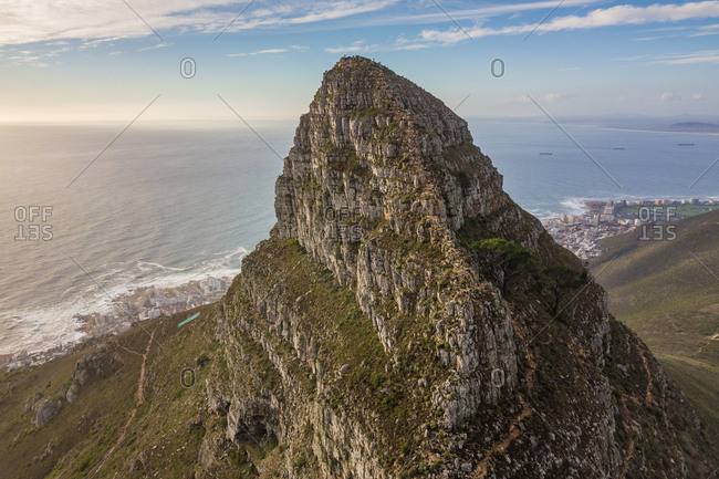 Aerial view of Signal Hill and seascape, Cape Town, South Africa