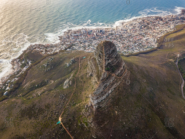 Aerial view of Signal Hill and hillside city, Cape Town, South Africa