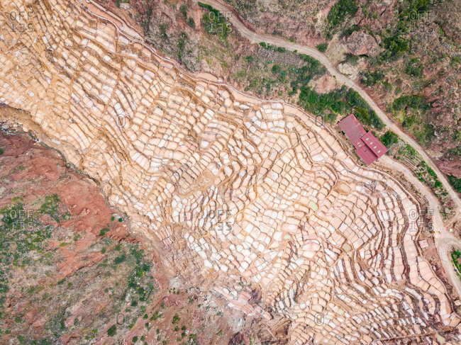 Aerial abstract view of Inca salt pans of Maras, Peru