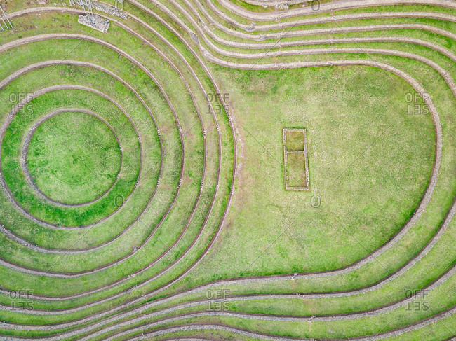 Aerial close up view of terraced circular depressions of Moray archeological site, Peru