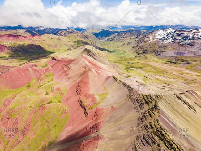 Aerial panoramic view of  colourful Vinicunca, Rainbow Mountain, Peru